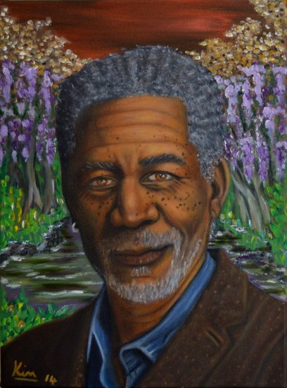 Oil Painting > Loose Ends > Morgan Freeman - Click Image to Close