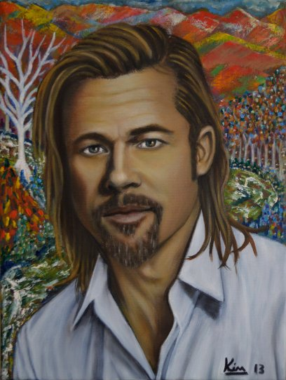 Oil Painting > Saragossa Opening > Brad Pitt - Click Image to Close